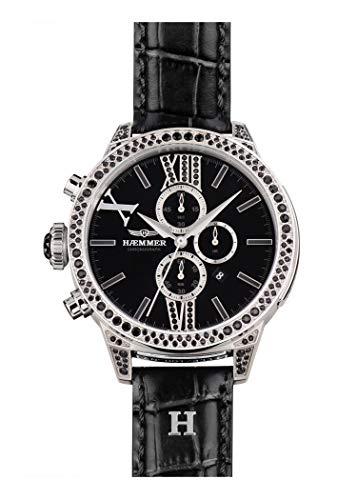 HÆMMER Secret Damenuhr aus Edelstahl | Limitierte Damen Uhr mit Kalbslederarmband | Luxusuhr mit schwarzen Swarovski-Kristallen