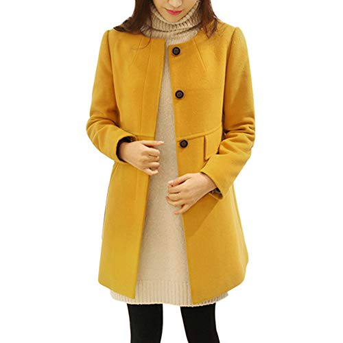 TianWlio Jacken Parka Mäntel Damen Herbst Winter Warme Jacken Mode Jacken Langen Abschnitt Große Größe Lose Rundhals Mantel Gelb XXXXXL