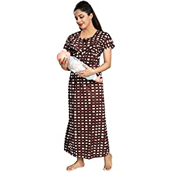 Tucute Women's Dott's Print (Brown) Feeding / Maternity / Nursing Nighty Style: 1258