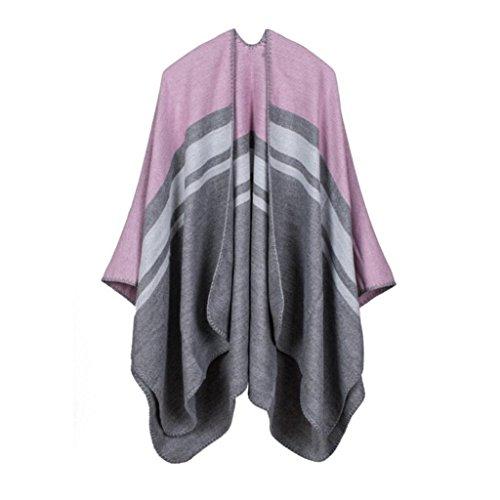 Frauen Mode Nepal Stil Oversized verdickte Decke Schal wickeln Poncho Schal Cape gemütliche Faux Cashmere perfekt als Geschenk für Frau 150 * 130cm , pink Faux Cashmere