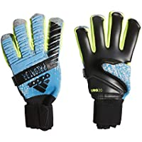adidas Predator PRO Fingersave, Goalkeeper Gloves Unisex – Adulto, Bright Cyan/Silver Met./Solar Yellow/Black, 7.5