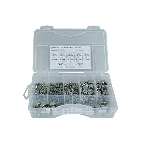 Sortiment Edelstahl A2 Sechskantmuttern DIN 934, M3 bis M12, 305 Teile, Material: V2A VA