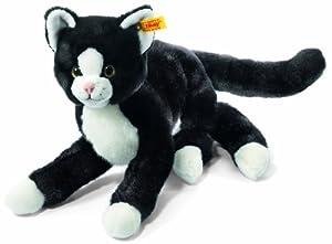 Steiff 099366 - Mimmi, Peluche Gato Sentado (30 cm), Color Negro y Blanco