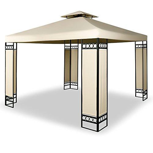 Deuba Gazebo da giardino Lorca 3x3 doppio tetto poliestere Protezione UV50+ 9m² tendone padiglione esterno patio feste matrimonio crema