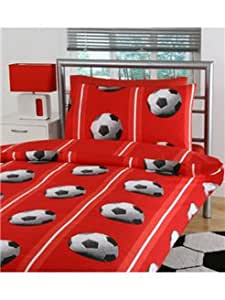 Football Single Duvet Cover and Pillowcase 'Red' - Exclusive Design