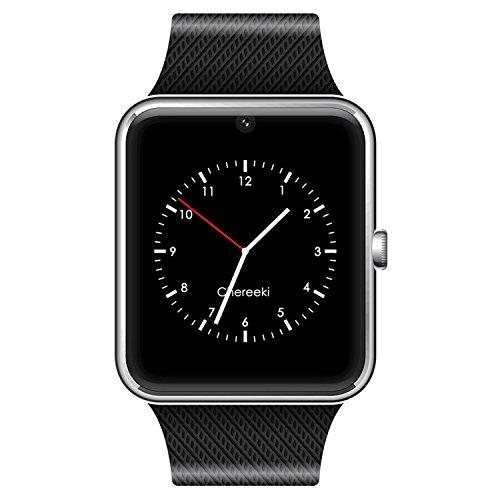 GSTEK Smarthwatch con Bluetooth Orologio Intelligente con Macchina Fotografica, SIM / TF Card Slot, Schermo touch, Contapassi, Ottimo Smartwatch per Smartphone Android (Argento)