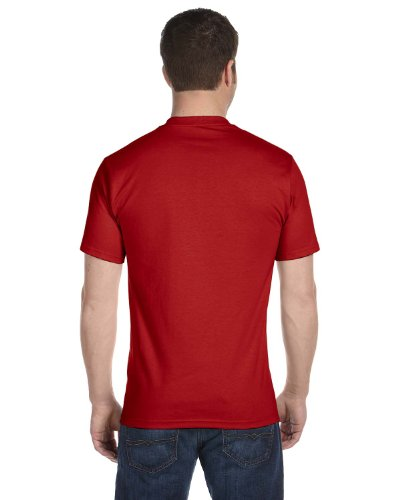 Hanes Mens Double-Needle Stitched Sleeves Cotton Tee Pack of 5 Deep Red