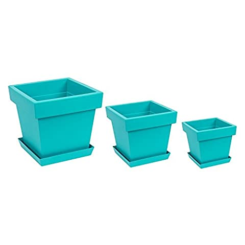 Set of 3 different sizes Lofly Square turquoise flowerpot with saucer