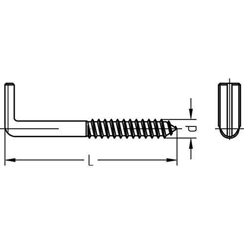 Preisvergleich Produktbild Dresselhaus® Art.7 Schraubhaken Schlitz Winkel 100mm 1 Stück