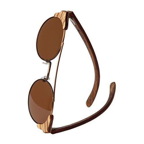 WOLA Damen Herren Sonnenbrille Holz FEU Brille rund mit Metallrahmen polarisiert UV400 Zebraholz Unisex Damen M - Herren S