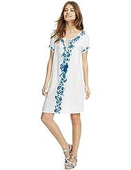 qxj New Premium Pure de algodón bordado playa blanco blusa, Ropa de playa vacaciones Wear sun-protective ropa mujer