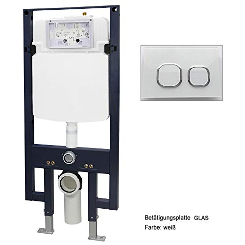 Bernstein Glas-modell (WC-Vorwandelement G3008 inkl. Betätigungsplatte - Modell wählbar, Betätigungsplatte:Modell weiß Glas)