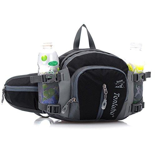 SINOKAL multifunzionale stile militare tela Waist Pack Borsa acqua resistenza Fanny Pack con porta bottiglia d'acqua per l'esecuzione di escursionismo in bicicletta arrampicata viaggio campeggio (Nero)