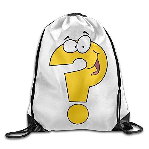 Funny Question Mark Print Drawstring Backpack Rucksack Shoulder Bags Gym Bag Sport Bag
