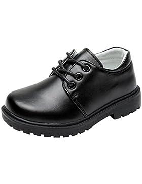 hibote Zapatos Oxford de Cuero para Niño - Zapatos de Vestir Formales de Fiesta Negros de la Escuela para Niños...