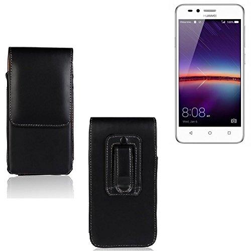 K-S-Trade® Für Huawei Y3 II Dual-SIM Gürtel Tasche Gürteltasche Schutzhülle Handy Tasche Schutz Hülle Handytasche Smartphone Case Seitentasche Vertikaltasche Etui Belt Bag Schwarz Für