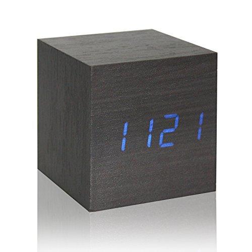 ONEVER Cube Walnut Klicken Taktgeber Digital LED Schreibtisch Wecker Sprachsteuerung Thermometer Timer Kalender | Schwarz
