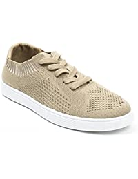 Ideal Shoes - Baskets basses en maille Lola Taupe 39