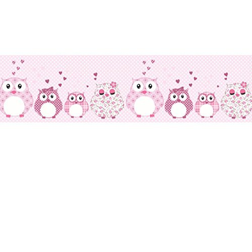 Vlies Bordüre selbstklebend fürs Kinderzimmer Wandtattoo Patchworkeulen rosa