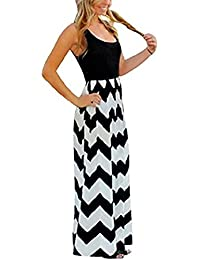 33175f1205160 Flying Rabbit Femme Longue Sexy Ete Plage Robe - Maxi Vague Rayures Taille  Haute Sans Manches