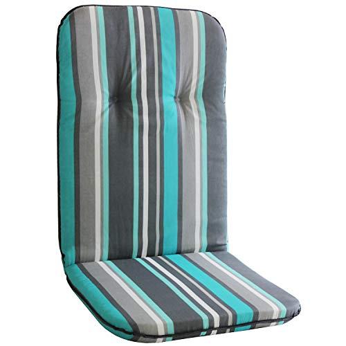 Polsterauflage für Hochlehner, 115x50cm, 5cm dick, Türkis/Grau gestreift - Gartenstuhlauflage Stuhlauflage Sitzauflage Sitzpolsterauflage