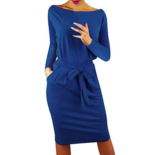 VJGOAL Femme EléGant Robe Col V Croisé Manche Longue Robe Crayon, Mini Robe Hiver Automne(FR-36/CN-S,Bleu)