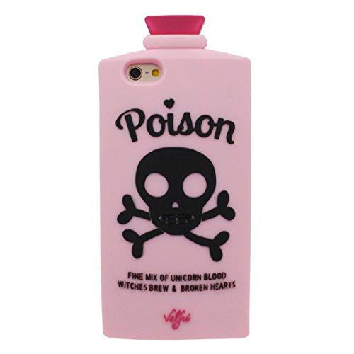 """iPhone 7 Coque Case, Souple Poids léger Silicone Etui Apple iPhone 7 4.7"""" Noir, Original Crâne Le soulagement Motif Posio Bouteille Désign Rose"""