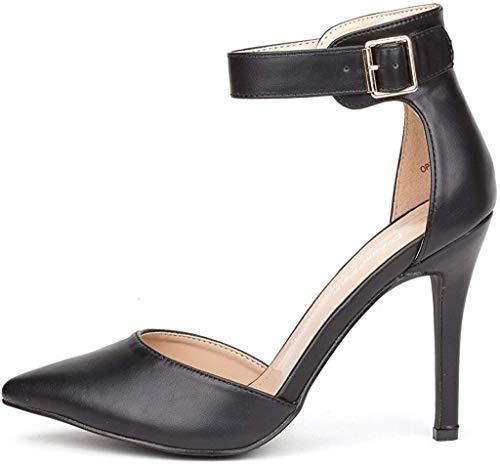 Dream, paio di scarpe da donna a punta con cinturino alla caviglia con tacco alto a spillo, colore nero