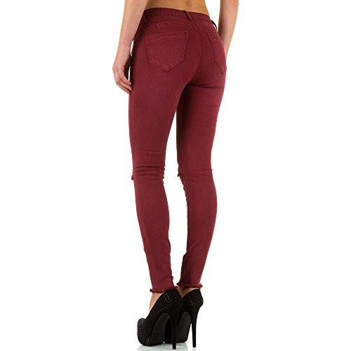 Damen Jeans Hose Jeanshose Used Look Stretch Skinny Röhre Bleistifthose Röhrenhose Weinrot Weinrot