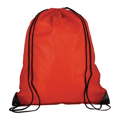 5 x Nylon Drawstring Rucksacks With Reinforced Corners - Kids School Sports Gym Book Swim Bags (Red)