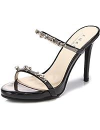 LVZAIXI Para mujer del partido de noche del baile de fin de curso Plataforma Slip-On Sandalias de tacón alto Zapatos Talla ( Color : Negro , Tamaño : 37 )