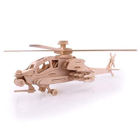 DIY 3D Wooden Apache helicopter Model Construction Kit Puzzle Toy Jigsaw
