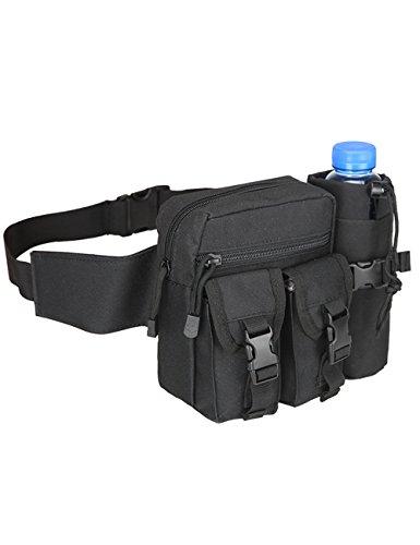 CUKKE Multipurpose Taktische Tasche Gürtel Taille Pack Tasche Military Taille Fanny Pack Telefon Tasche Gadget Geld Tasche Tarnung 6 Schwarz