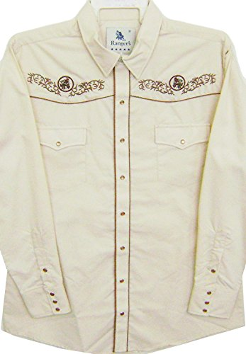 Modestone Men's Embroidered Long Sleeve Western Hemd Men's Filigree Horse Beige (Ely Western Cattleman Shirt)