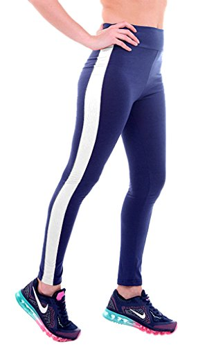 Smile YKK Legging Sculptant Femme Pantalon Yoga Jogging Running Sport Casual Amincissant Bleu Blanc