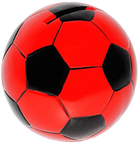 alles-meine.de GmbH Große Spardose -  Fußball / Ball - Rot & Schwarz  - Stabile Sparbüchse aus P..