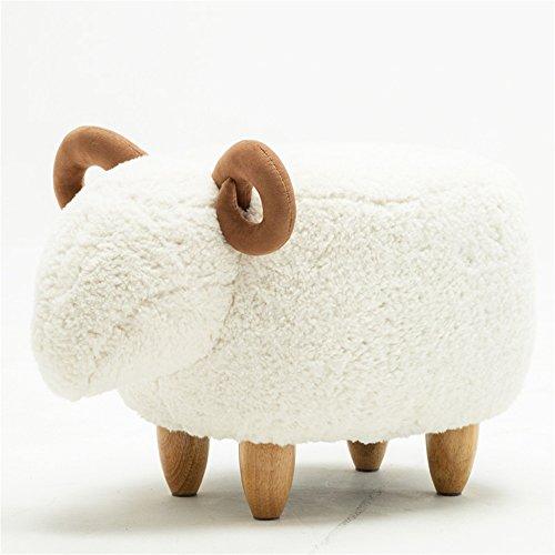 ode-minimalistischer Kreativität-Lamm-Schemel/Wohnzimmer-Schemel/Sofa-Schemel/Schlafzimmer-Schemel/Schuh-Ersatz-Schemel (Color : Weiß) ()