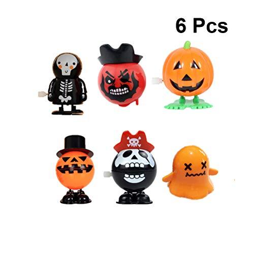 TOYANDONA 6 stücke Halloween Wind Up Uhrwerk Spielzeug Kürbis Walking Puppe Spielzeug für Kinder Halloween Schreckliche Thema Party Geburtstagsgeschenk Dekor (zufällige Muster)