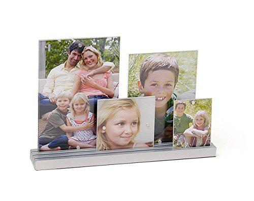 4 teilig aus Glas mit Holz-Sockel silber - Bilderrahmen Bildergalerie Fotogalerie - Foto Bilder Collage ()