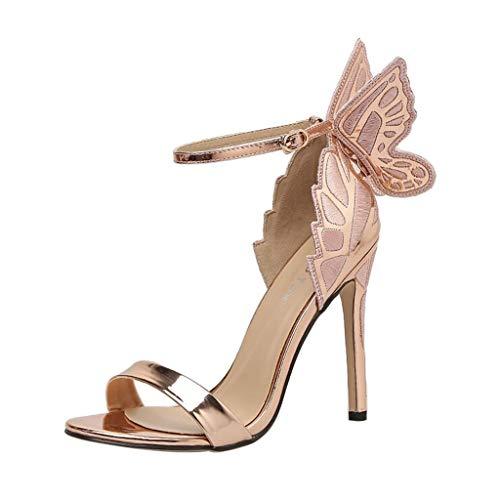 Wawer Damenschuhe Sandalen Flügel Sandaletten High Heel Sandaletten Party Freizeit Hochzeit Sommer Sandalen Gold Thong Schuh