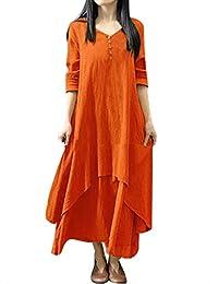 f8c880326fa3 Qmber Kleider Damen Lange Kleid 1950er Vintage Brautjungfernkleid Petticoat  Lange Ärmel Ballkleid Hepburn Kleid Herbst Winter, lose…