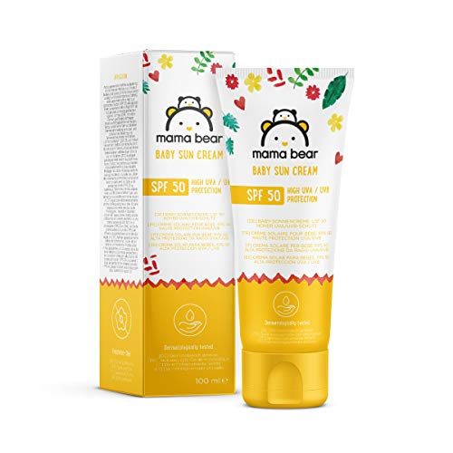 Amazon-Marke: Mama Bear Baby-Sonnencreme LSF 50 (hoher UVA/UVB Schutz) 4 Tuben - 4x100ml