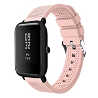 88AMZ Soft Silicone Sport Replacement Wristband For Huami Amazfit Bip Watch,waterproof Accessories Strap for swimming sports gym running,Available in 7 Colours,for Women/Men/kids (Pink)