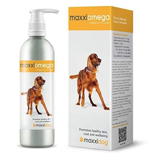 maxxiomega - Olio per Cani con Pratico Erogatore - Pelle Sana e Pelo Lucido - Omega 3 6 e 9 insieme a Vitamina A D E e Biotina - Non Odora di Pesce - Integratore Liquido per Cani 296 ml