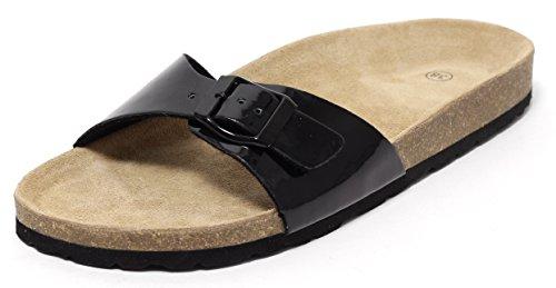 Zapato Damen Bio Clogs Bios Pantoletten Biopantolette Schuhe Sandale Slipper Sandaletten Sommerschuhe Komfortschuhe Fußbett Echt Leder Lack Schwarz Gr. 38-40 (Lack Pantolette Schwarze)