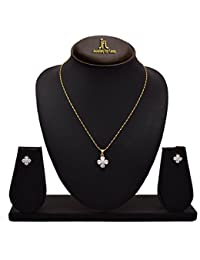 JFL - Fusion Ethnic One Gram Gold Plated Cz American Diamond Designer Pendant Set With Earring For Women And Girls.