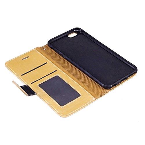Hülle für iPhone 6 Plus & 6s Plus, Crazy Pferd Textur PU Leder Horizontale Flip Leder Tasche mit Halter & Card Slots & Wallet & Foto Frame & Lanyard für iPhone 6 Plus & 6s Plus by diebelleu ( Color :  Gold