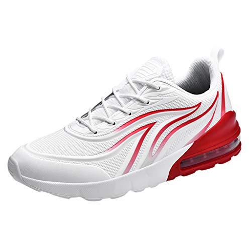 Tohole Laufschuhe Herren Turnschuhe Sportschuhe Straßenlaufschuhe Sneaker Atmungsaktiv Trainer für Running Fitness Gym Outdoor Sneaker (rot-E,42 EU) -
