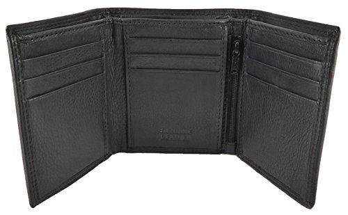 Hochwertige Trifold-Lederbrieftasche für Herren, schlank und kompakt mit 9 Kreditkartenfächern, 2 Notizabschnitten & ID-Fenster - in Geschenkverpackung, schwarz (Id-fenster Wallet Mens)
