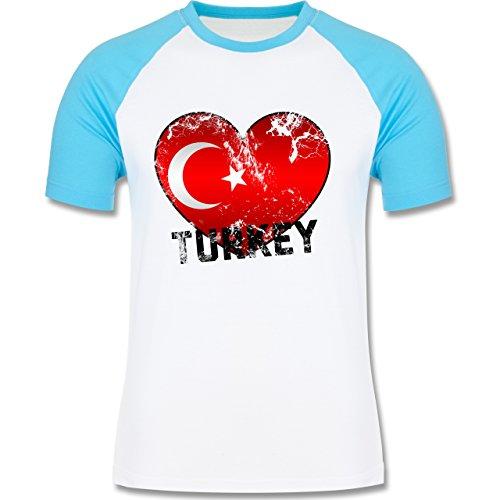 EM 2016 - Frankreich - Turkey Herz Vintage - zweifarbiges Baseballshirt für Männer Weiß/Türkis